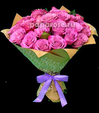 25 сиреневых роз в крафт-бумаге
