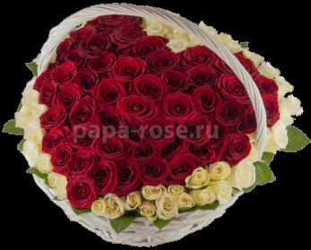 Сердце из 101 красной розы в корзине